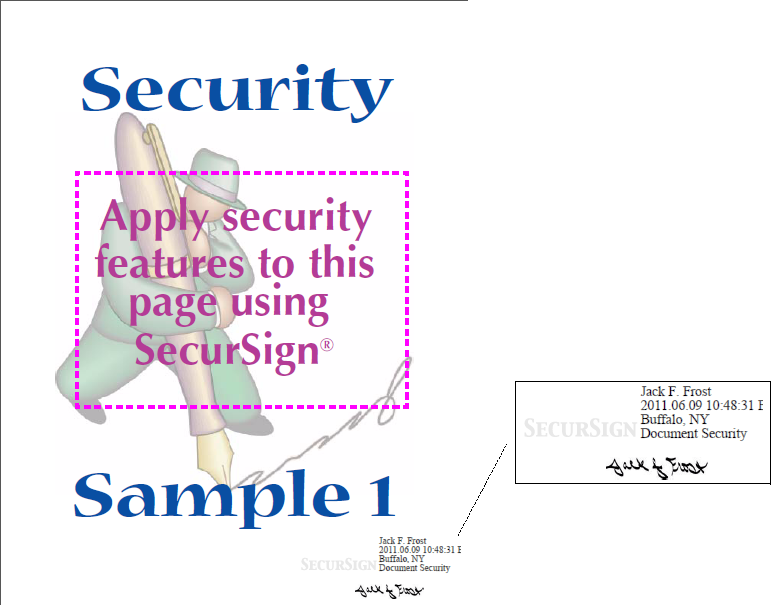 Screen shot of digital signature resulting from the above SecurSign command.
