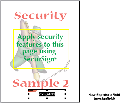 An example signature field on a PDF page.