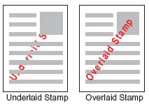 overlaid and underlaid stamp examples