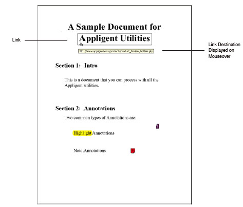 Link on first page of ApUtilsSample.pdf file