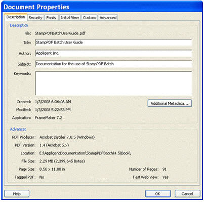 Document Properties of a file