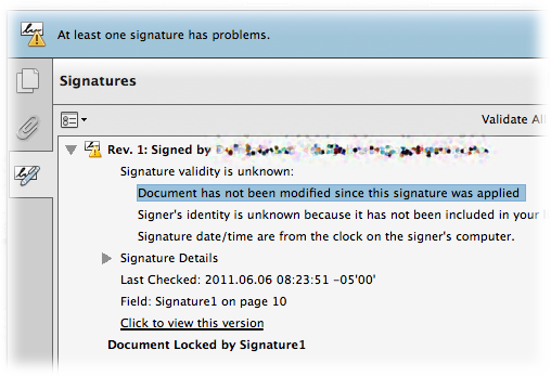 The signature panel in a self-signed PDF showing that the document has not been modified since signing.