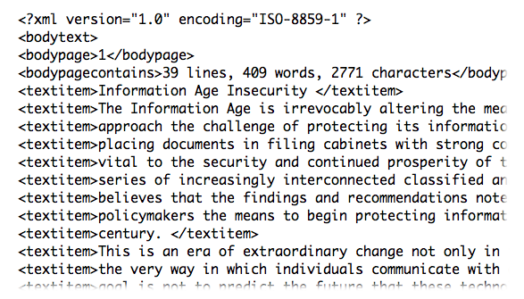Screen-shot of xml sample report.