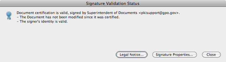 Certified signed status