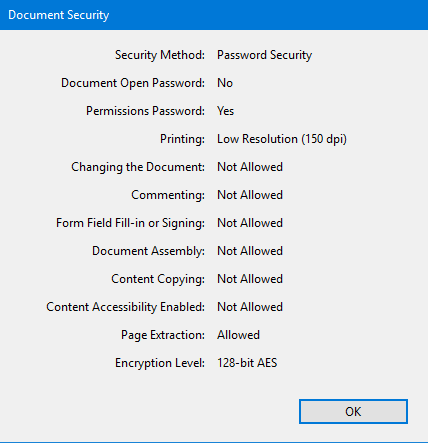 Dcoument Security Screen inside Acrobat